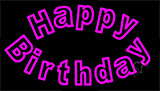 Pink Happy Birthday LED Neon Sign