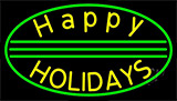 Yellow Happy Holidays LED Neon Sign