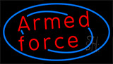 Armed Forces With Blue Neon Sign