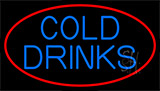 Blue Cold Drinks With Red Neon Sign
