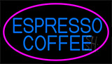 Blue Espresso Coffee With Pink Neon Sign