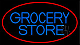 Blue Grocery Store With Red Neon Sign