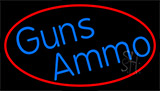 Blue Gun Ammo With Red Neon Sign