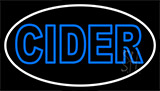 Double Stroke Blue Cider With White Border Neon Sign