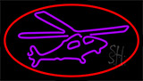 Purple Helicopter Neon Sign