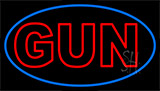 Red Double Stroke Gun Neon Sign
