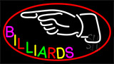 Billiards With Hand Logo 3 Neon Sign