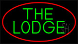 Cursive Green Lodge And Red Border LED Neon Sign