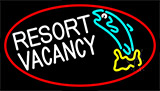 Resort Vacancy With Fish With Red Border LED Neon Sign