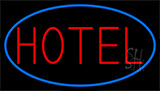 Red Simple Hotel With Blue Border LED Neon Sign