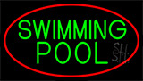 Swimming Pool With Red Border LED Neon Sign