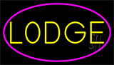 Yellow Lodge With Pink Border LED Neon Sign