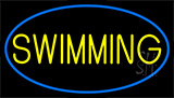 Yellow Swimming With Blue Border LED Neon Sign