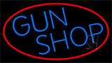 Blue Gun Shop With Red LED Neon Sign