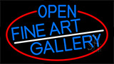 Blue Open Fine Art Gallery With Red Border Neon Sign