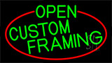 Green Open Custom Framing With Red Border Neon Sign