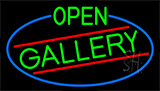 Green Open Gallery With Blue Border Neon Sign