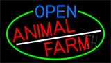 Open Animal Farm With Green Border LED Neon Sign