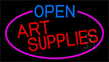 Open Art Supplies With Pink Border Neon Sign