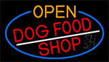 Open Dog Food Shop With Blue Border LED Neon Sign