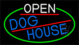 Open Dog House With Green Border LED Neon Sign