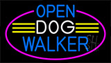 Open Dog Walker With Pink Border LED Neon Sign