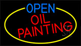 Open Oil Painting With Yellow Border Neon Sign