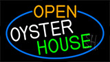 Open Oyster House With Blue Border LED Neon Sign