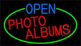 Open Photo Albums With Green Border Neon Sign