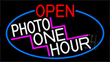 Open Photo One Hour With Red Border Neon Sign