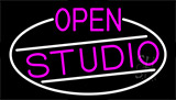 Pink Open Studio With White Border Neon Sign