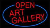 Red Open Art Gallery With Blue Border Neon Sign