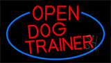 Red Open Dog Trainer With Blue Border LED Neon Sign