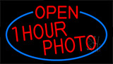 Red Open One Hour Photo With Blue Border Neon Sign