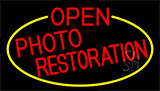 Red Open Photo Restoration With Yellow Border Neon Sign