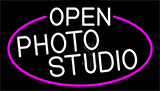 White Open Photo Studio With Pink Border Neon Sign