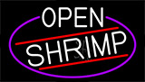 White Open Shrimp With Blue Border LED Neon Sign