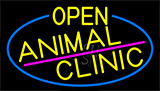 Yellow Animal Clinic With Blue Border LED Neon Sign