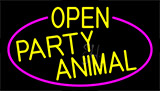 Yellow Open Party Animal With Pink Border LED Neon Sign