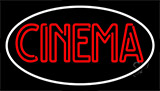 Red Cinema With White Border Neon Sign