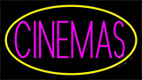 Pink Cinemas With Yellow Border Neon Sign