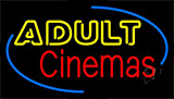 Yellow Adult Red Cinemas Neon Sign