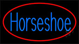 Blue Horseshoe With Red Border Neon Sign