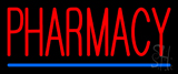 Red Pharmacy Blue Line Neon Sign
