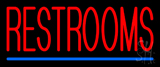 Restrooms With Blue Line Neon Sign