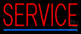 Red Service Blue Line Neon Sign