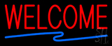 Welcome With Zigzag Line Neon Sign