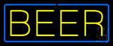 Yellow Beer With Blue Border LED Neon Sign