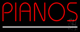 Red Pianos White Border LED Neon Sign