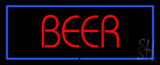 Red Beer With Blue Border LED Neon Sign